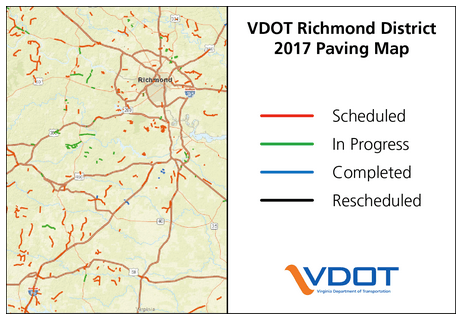 VDOT Richmond District 2017 Paving Map