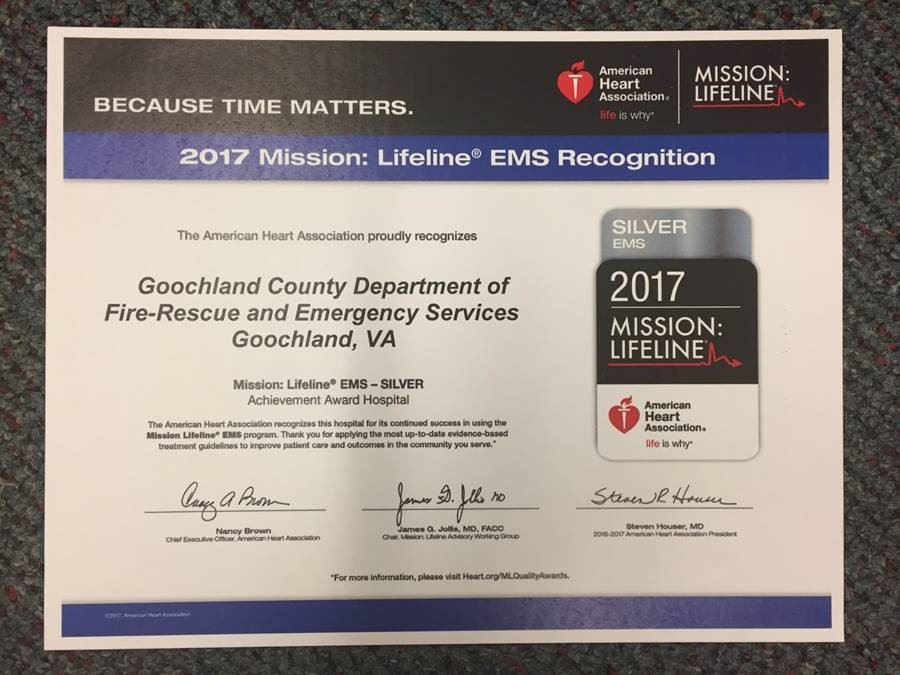 Goochland County Fire-Rescue Emergency Services - AHA 2017 Mission Lifeline Silver