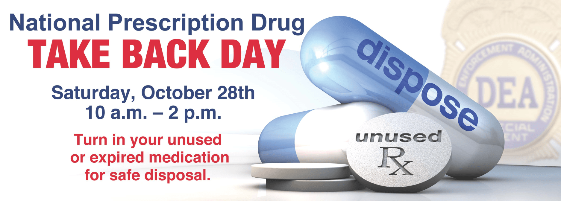 National Prescription Drug Take Back October 28, 2017