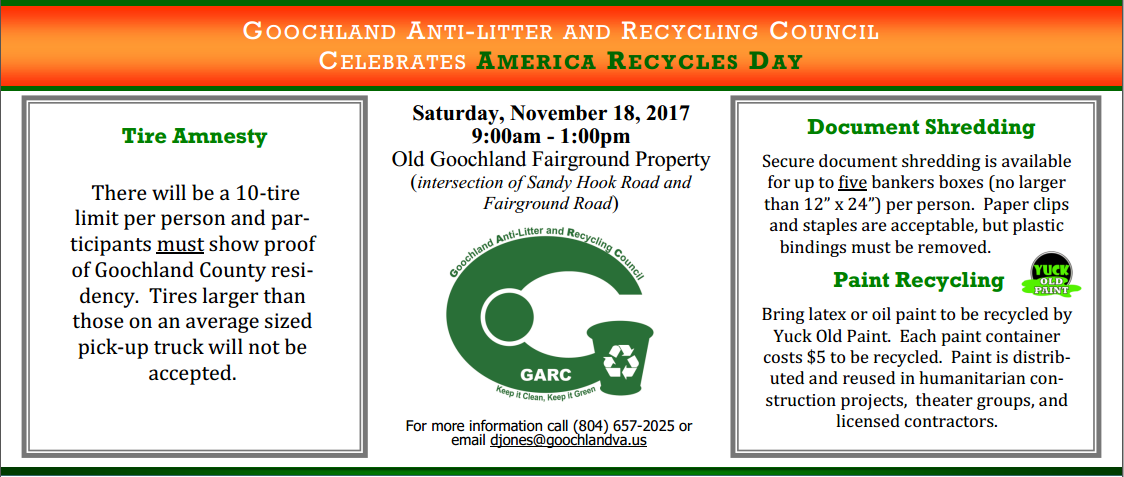 Goochland Celebrates America Recycles Day - 11-18-17 Tire Amnesty