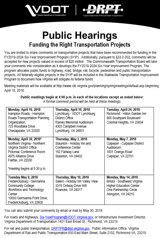 Commonwealth Transportation Board - SYIP FY 19-24 - Spring 2018
