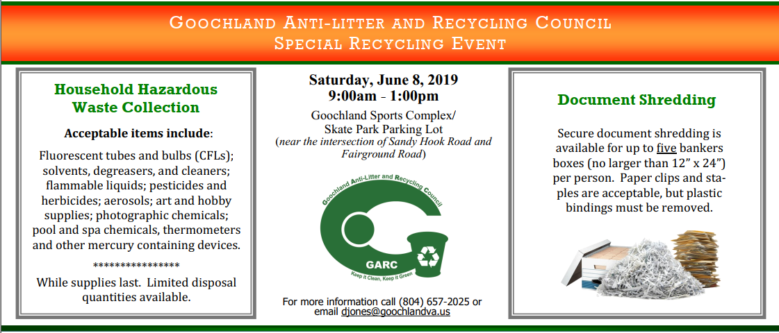 Special Recycling Event June 8, 2019