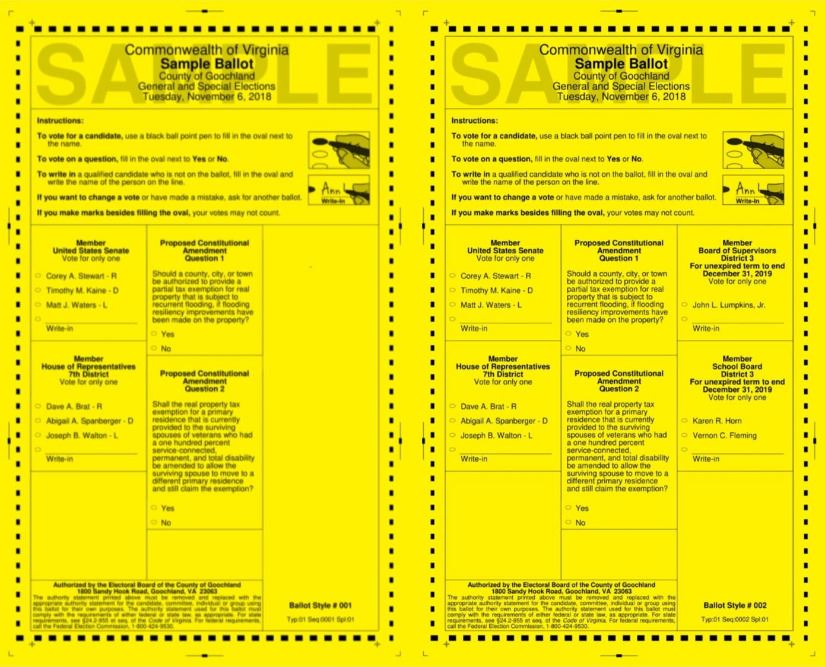 Goochland County Sample Ballots