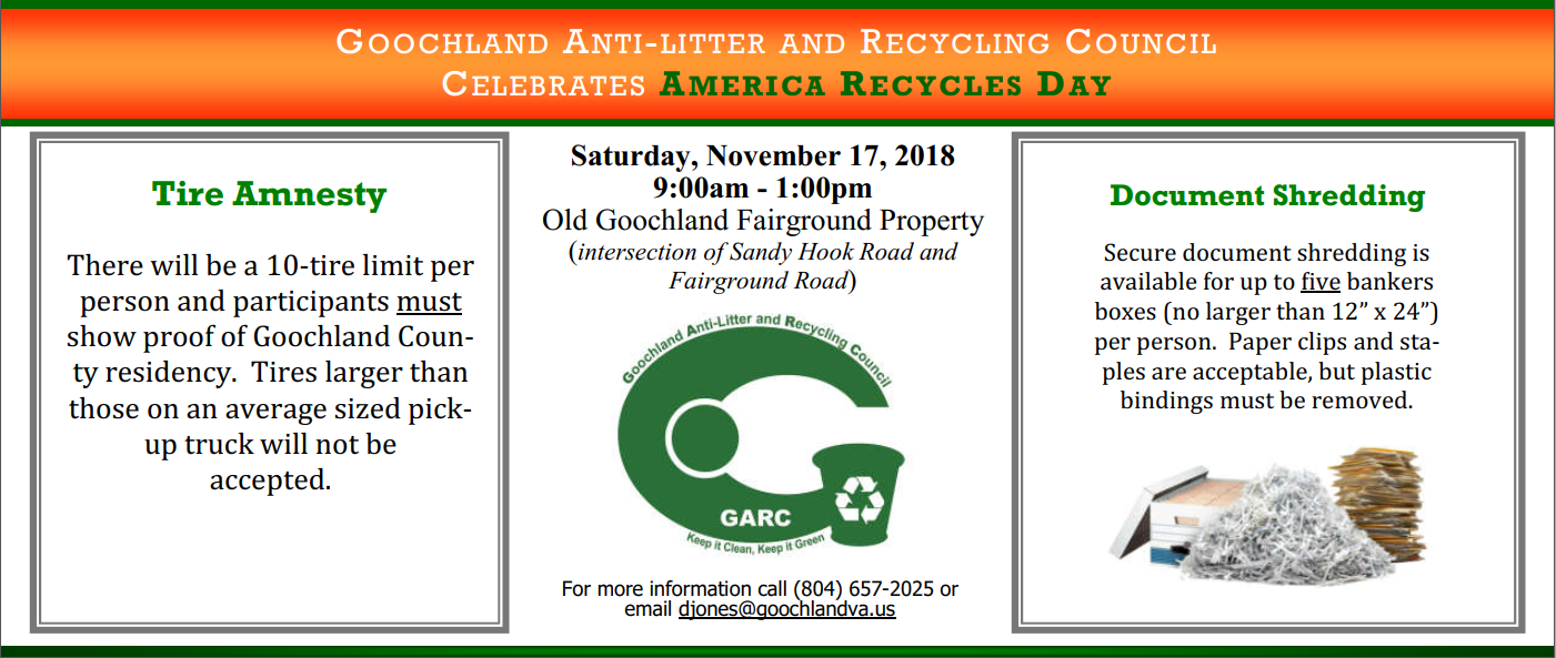 Goochland Celebrates America Recycles Day - 11-17-18