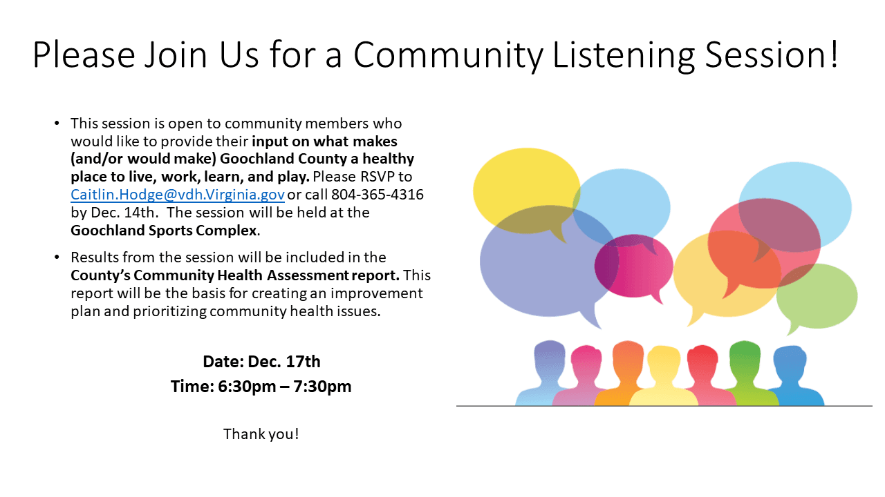 Goochland Parks Rec Flyer  - CHA Community Listening Session