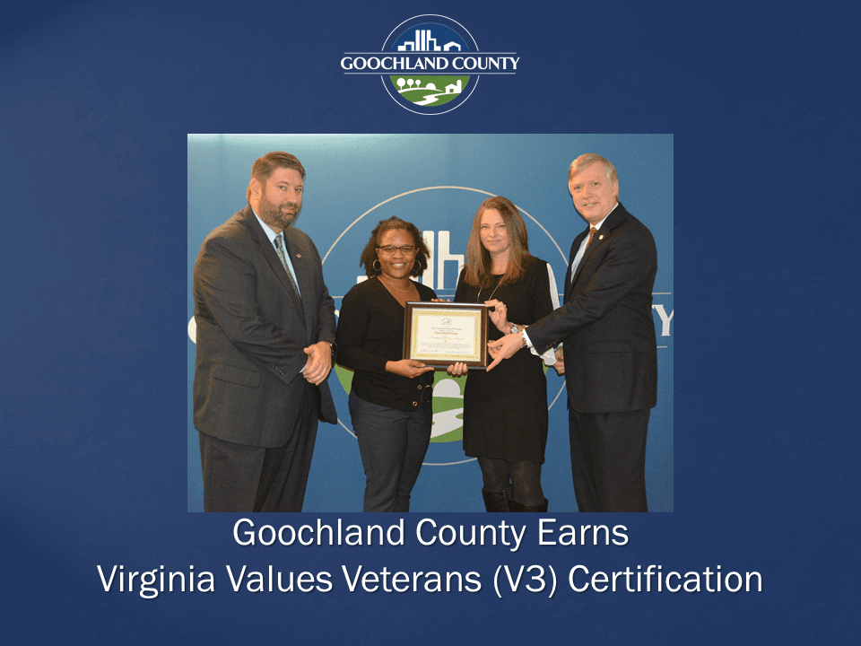 Goochland County Earns Virginia Values Veterans Certification
