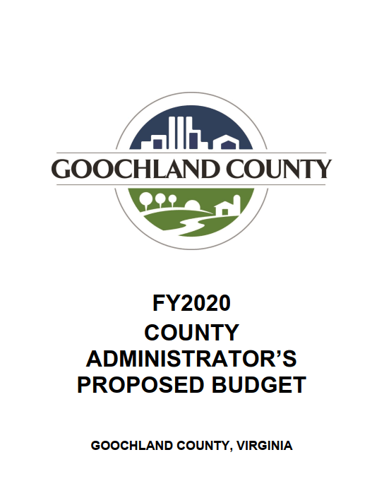 FY2020 County Administrators Proposed Budget - Cover