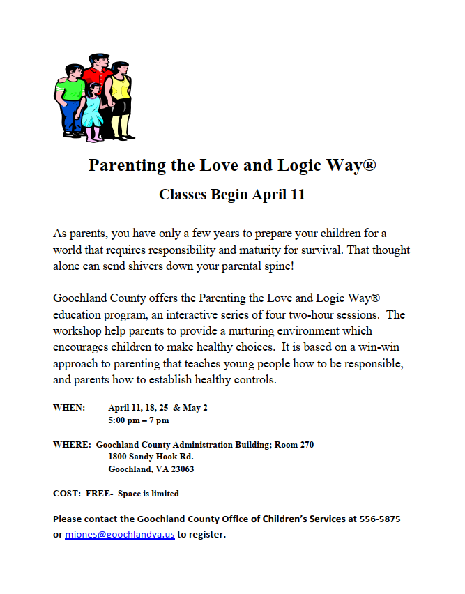 Parenting the Love and Logic Way - April and May 2019