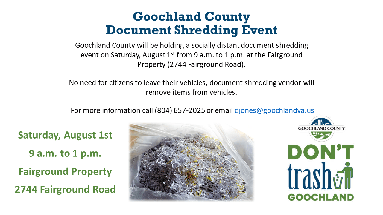 Goochland Document Shredding Event - August 1 2020