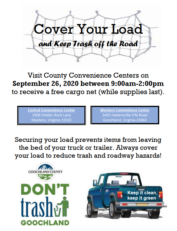 Goochland County -  Cover Your Load Cargo Net Giveaway - September 26 2020