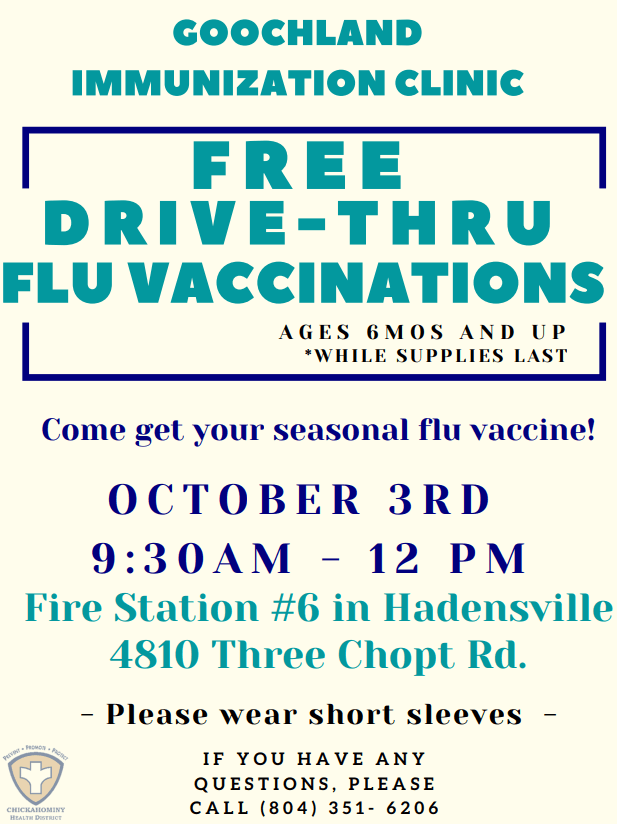 Goochland County Free Seasonal Flu Shot Clinic - October 3 2020
