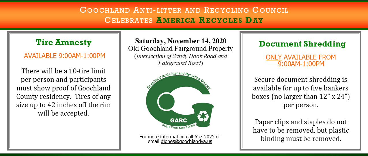 Goochland Celebrates America Recycles Day - November 14 2020