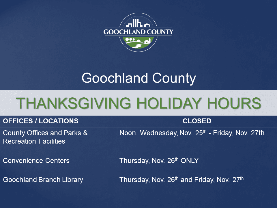 Goochland County - Thanksgiving 2020 Holiday Hours