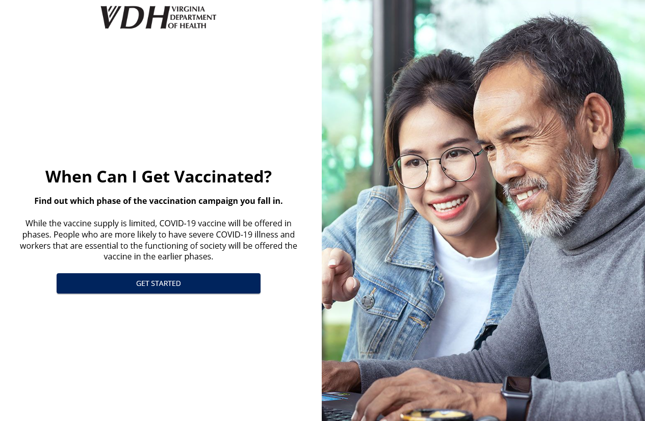 VDH - When Can I Get Vaccinated - Online Tool