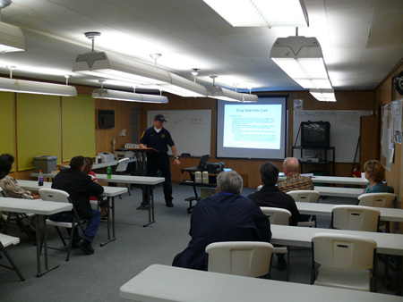 Deputy Greg Bock instructs class on drug search pr