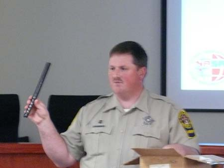 Deputy Cranor shows students a homemade weapon tak